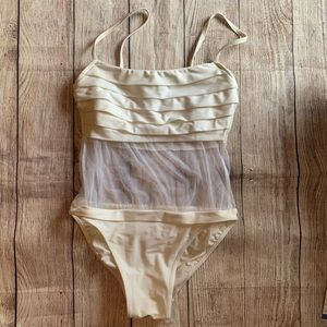 Gottex ivory pleated mesh swimsuit 8 hhh24